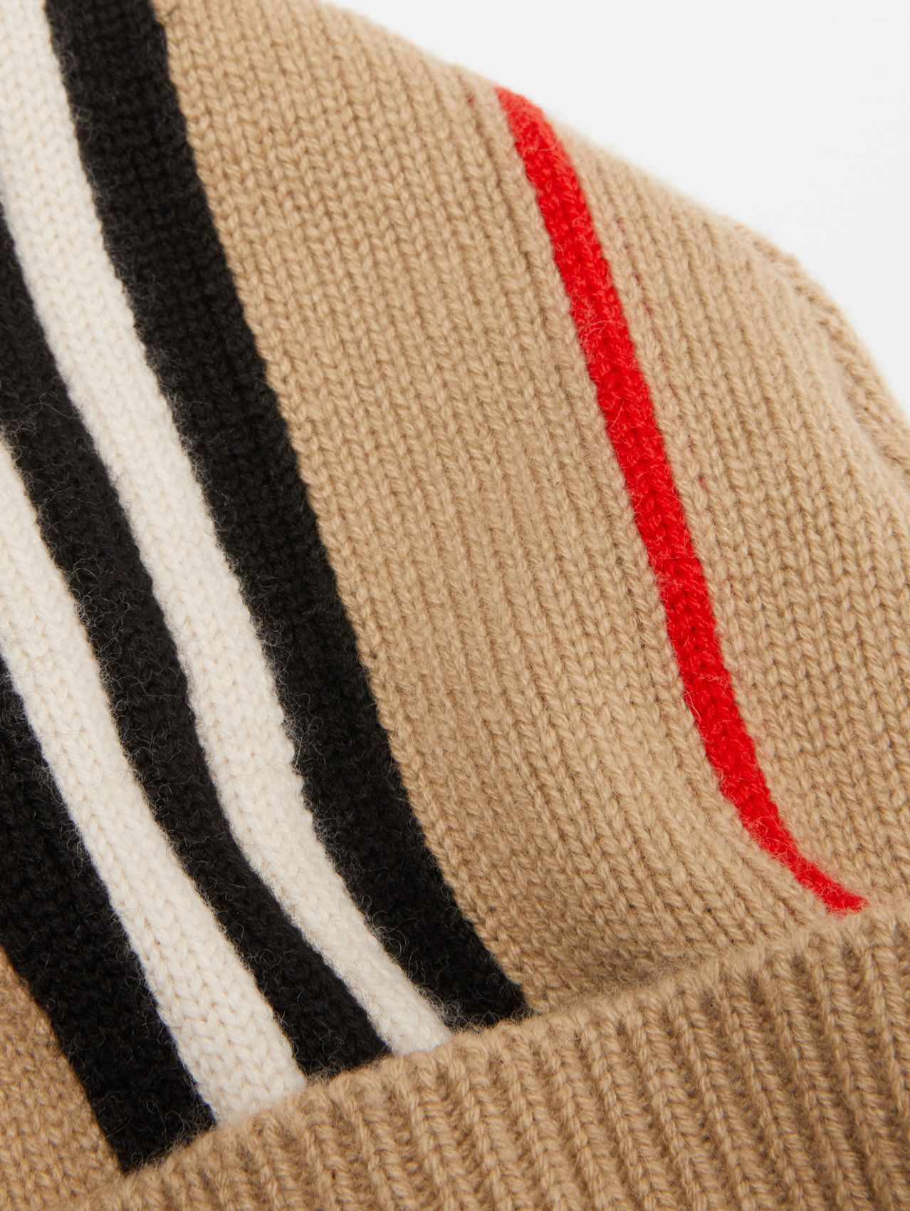 Icon Stripe Cashmere Wool Beanie in Archive Beige
