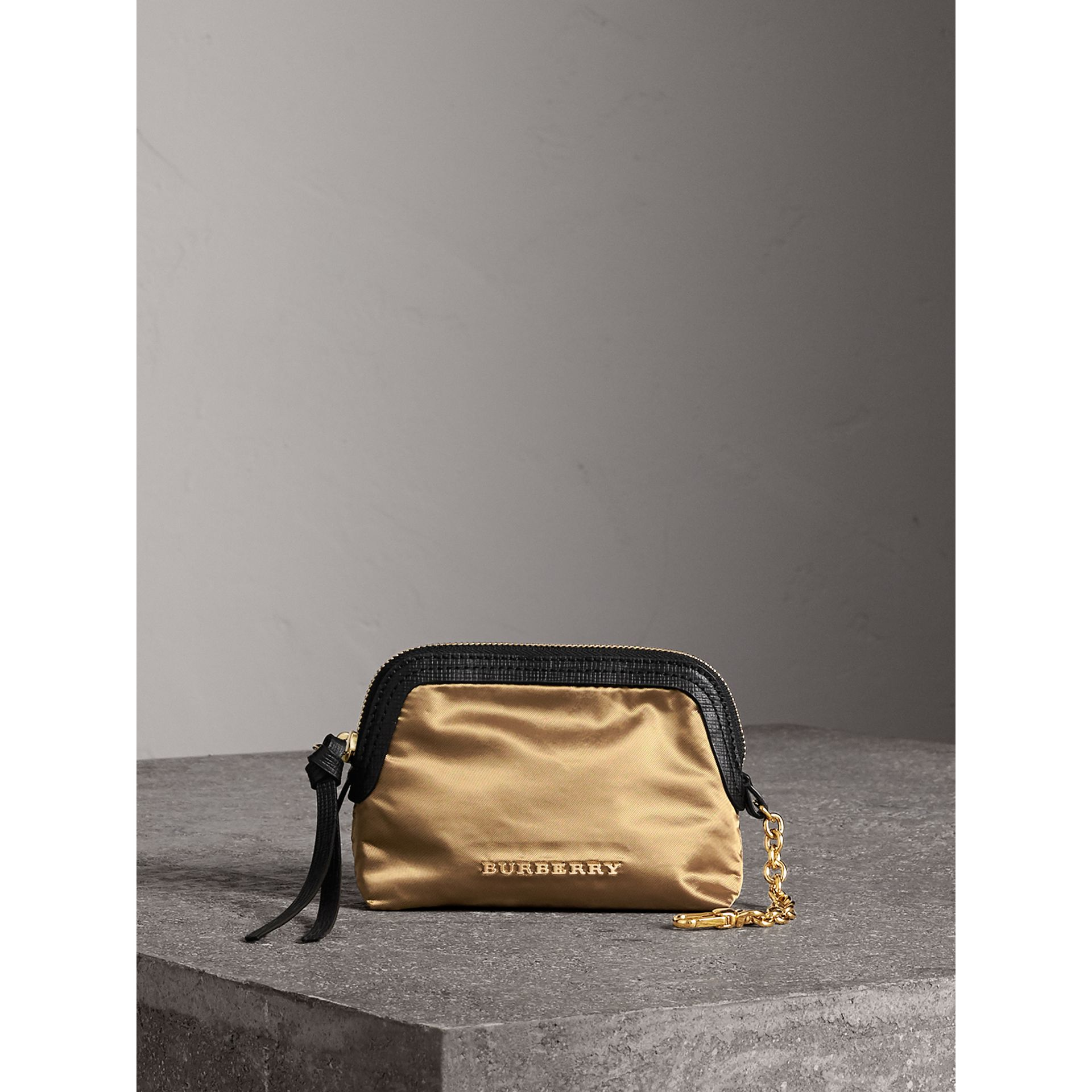 Small Zip-top Leather-trimmed Technical Nylon Pouch in Gold/black - Women | Burberry - gallery image 1