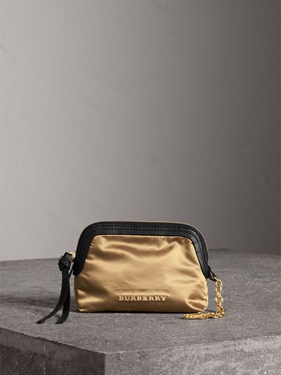Small Zip-top Leather-trimmed Technical Nylon Pouch in Gold/black