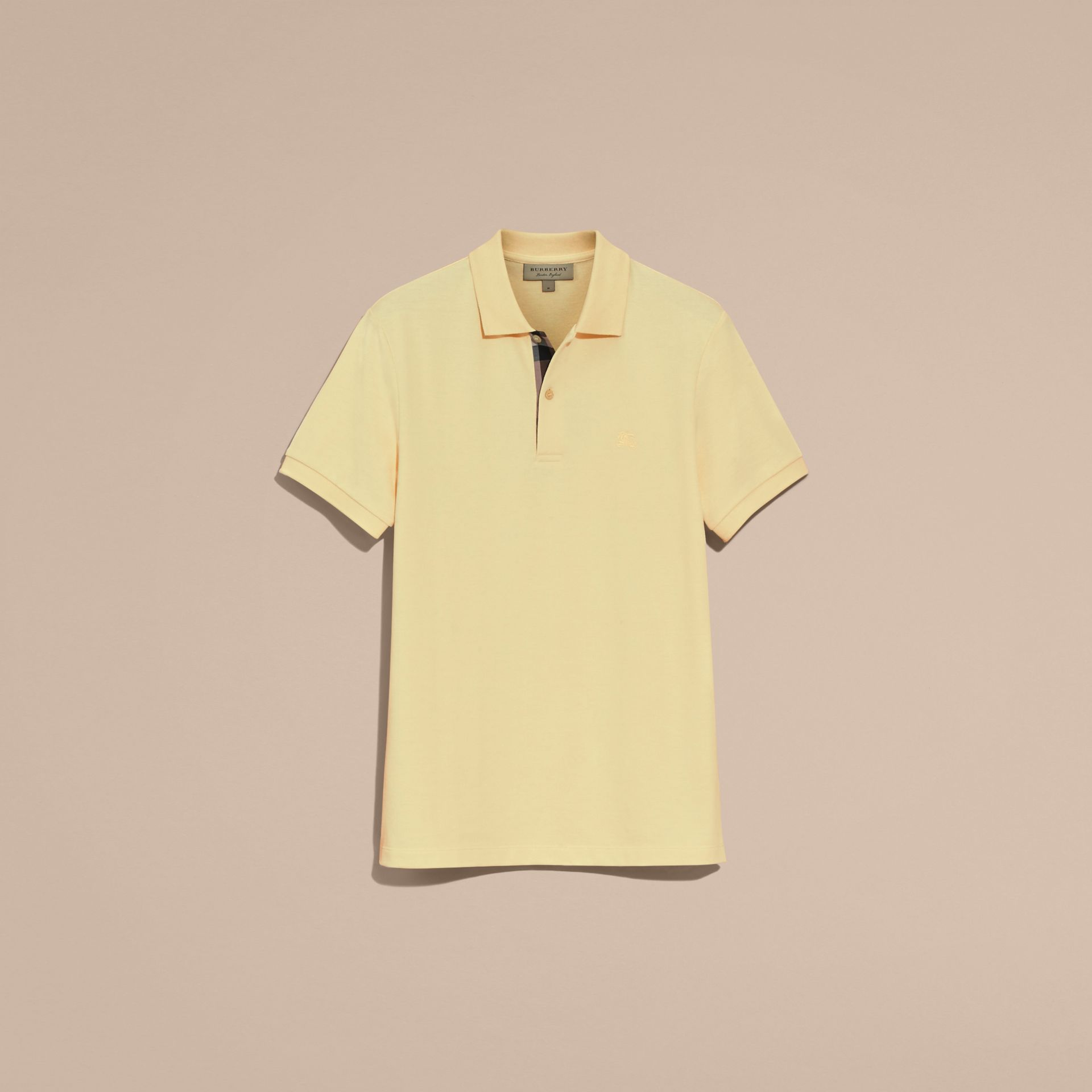 Check Placket Cotton Piqué Polo Shirt in Vanilla Yellow - Men | Burberry - gallery image 4