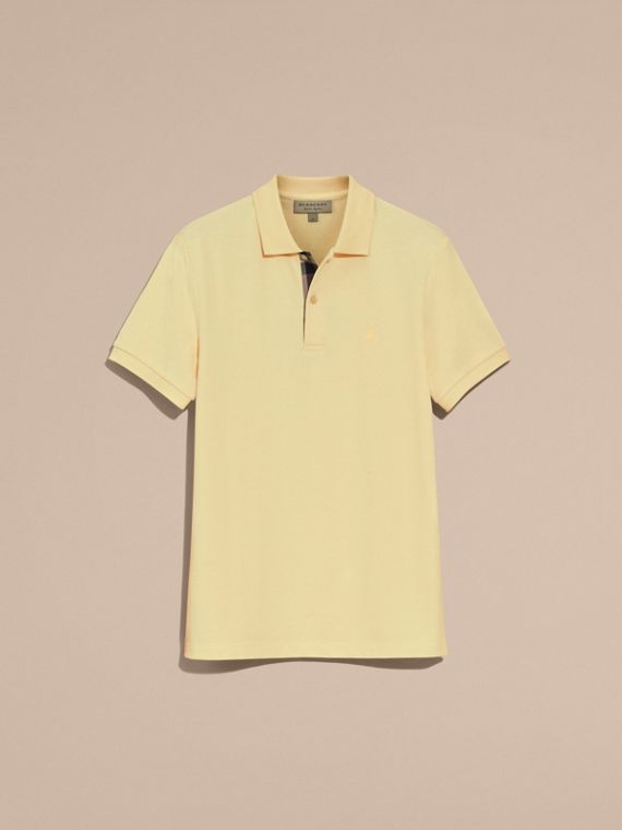 Check Placket Cotton Piqué Polo Shirt in Vanilla Yellow - Men | Burberry - cell image 3