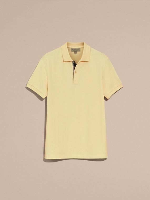 Check Placket Cotton Piqué Polo Shirt in Vanilla Yellow - Men | Burberry Singapore - cell image 3