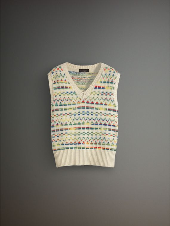 Geometric Fair Isle Wool Cropped Tank Top in Natural White - Men | Burberry - cell image 3