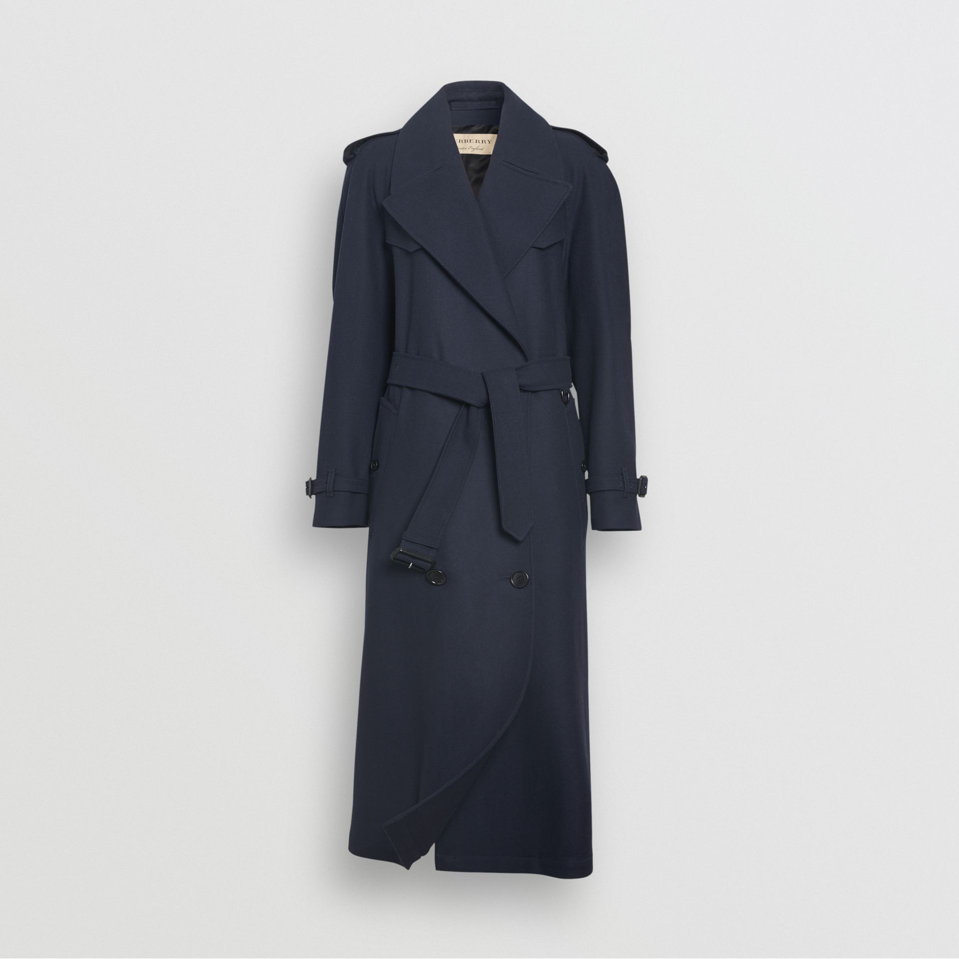 Herringbone Wool Blend Trench Coat in Navy - Women | Burberry - gallery image 3