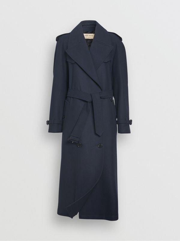 Herringbone Wool Blend Trench Coat in Navy - Women | Burberry Hong Kong - cell image 3