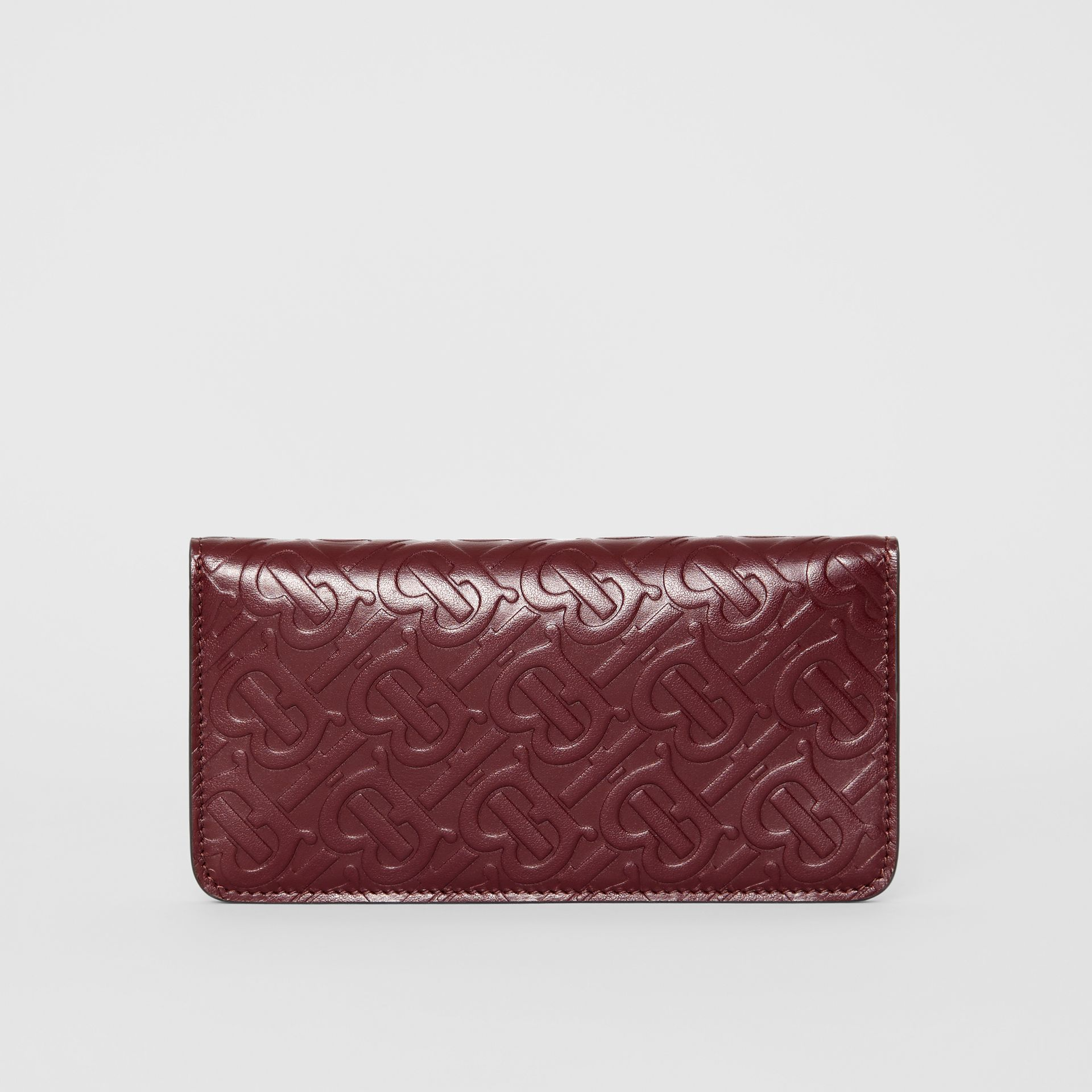 Monogram Leather Phone Wallet in Oxblood - Women | Burberry United Kingdom - gallery image 5