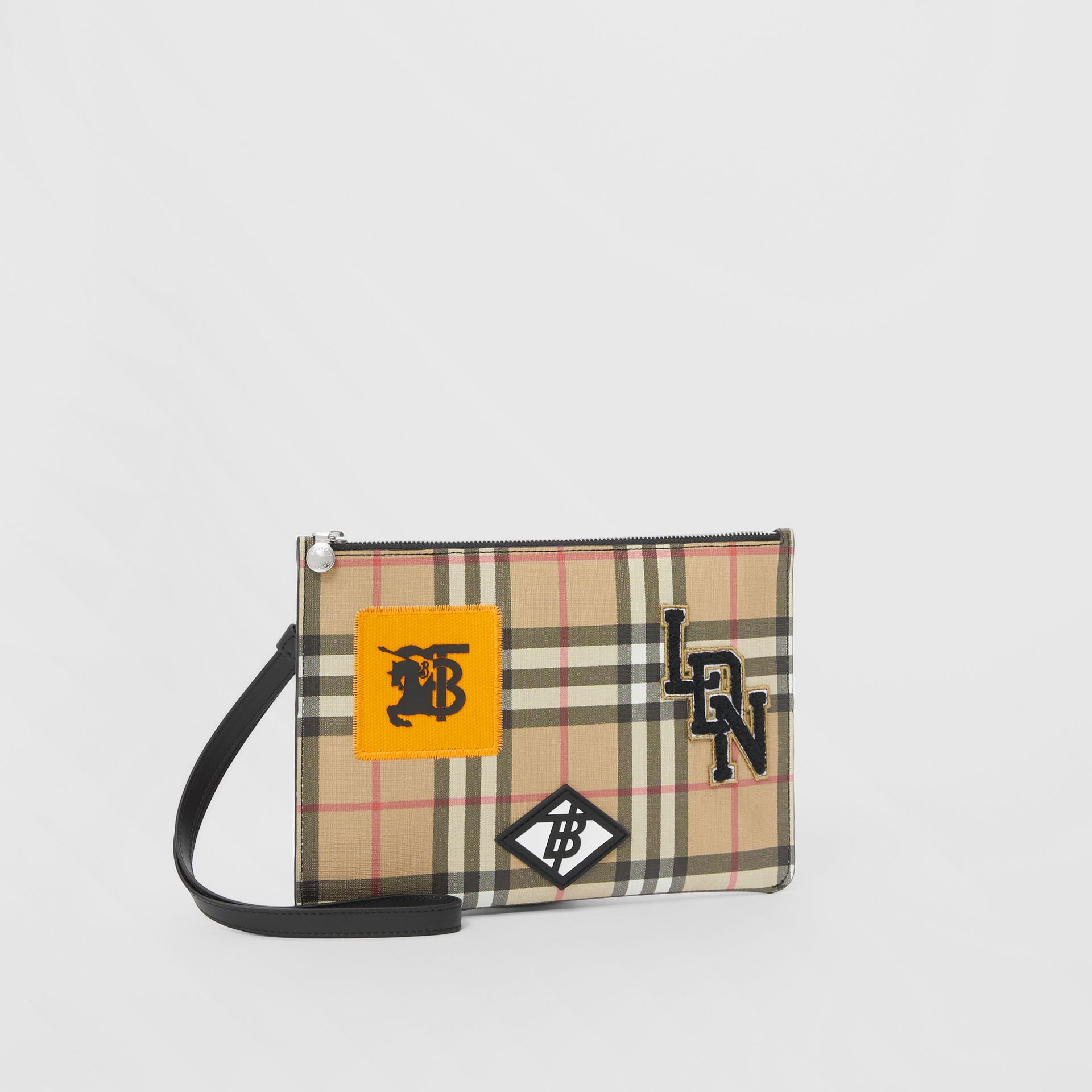 Logo Graphic Vintage Check E-canvas Zip Pouch in Archive Beige | Burberry - gallery image 8