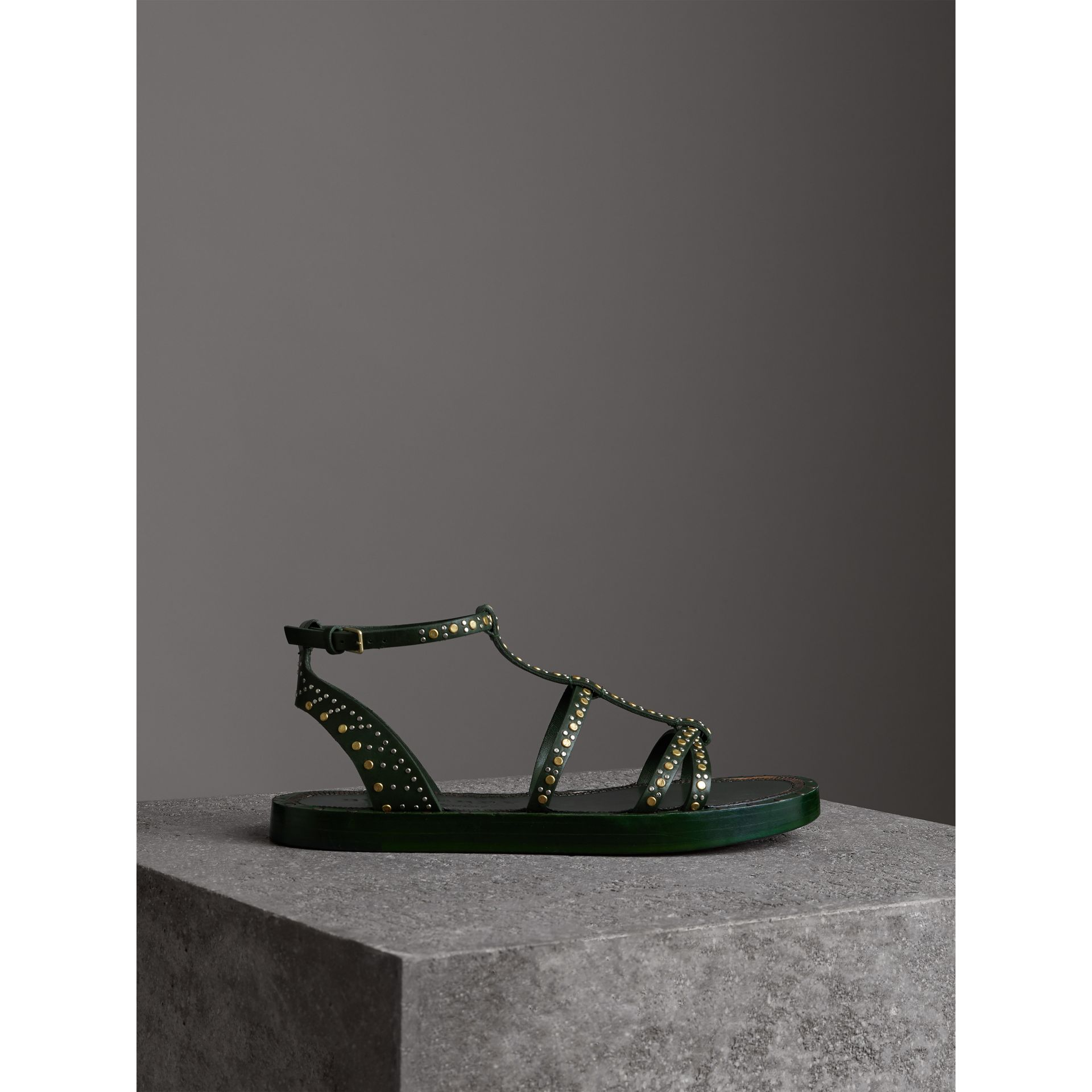 Riveted Leather Gladiator Sandals in Dark Green - Women | Burberry - gallery image 4