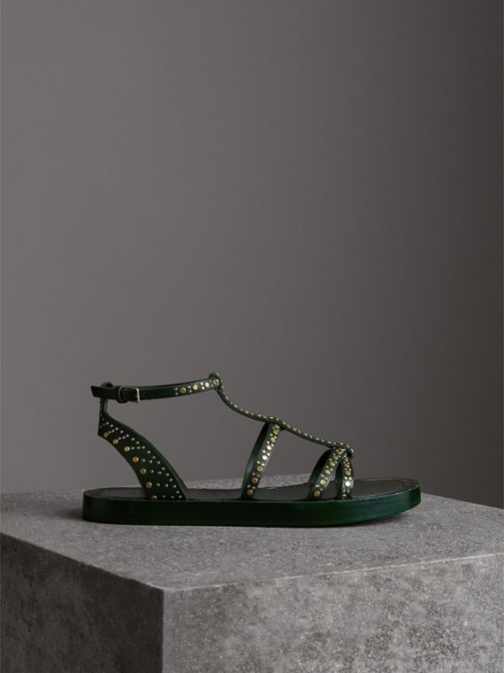 Riveted Leather Gladiator Sandals in Dark Green - Women | Burberry - cell image 3
