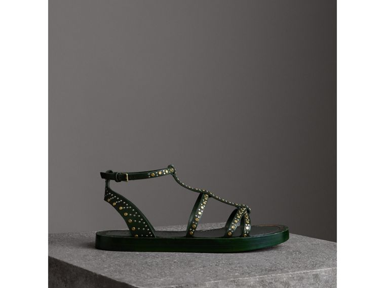 Riveted Leather Gladiator Sandals in Dark Green - Women | Burberry - cell image 4