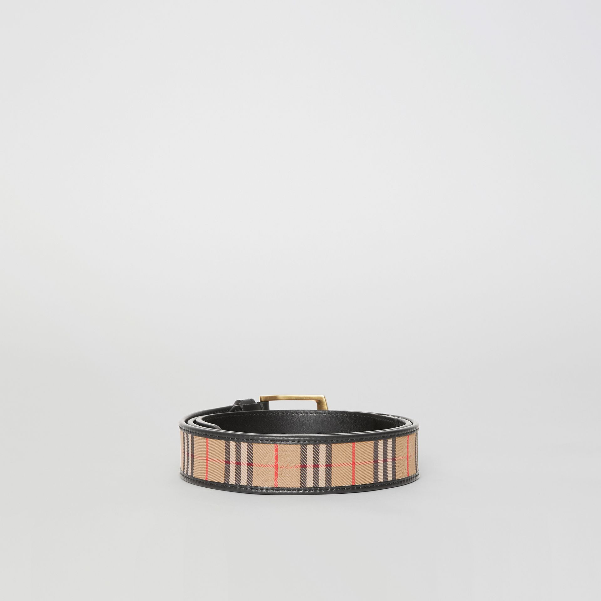 1983 Check and Leather Belt in Black - Men | Burberry - gallery image 4