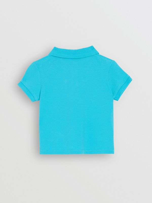EKD Logo Cotton Piqué Polo Shirt in Bright Cyan Blue - Children | Burberry - cell image 3
