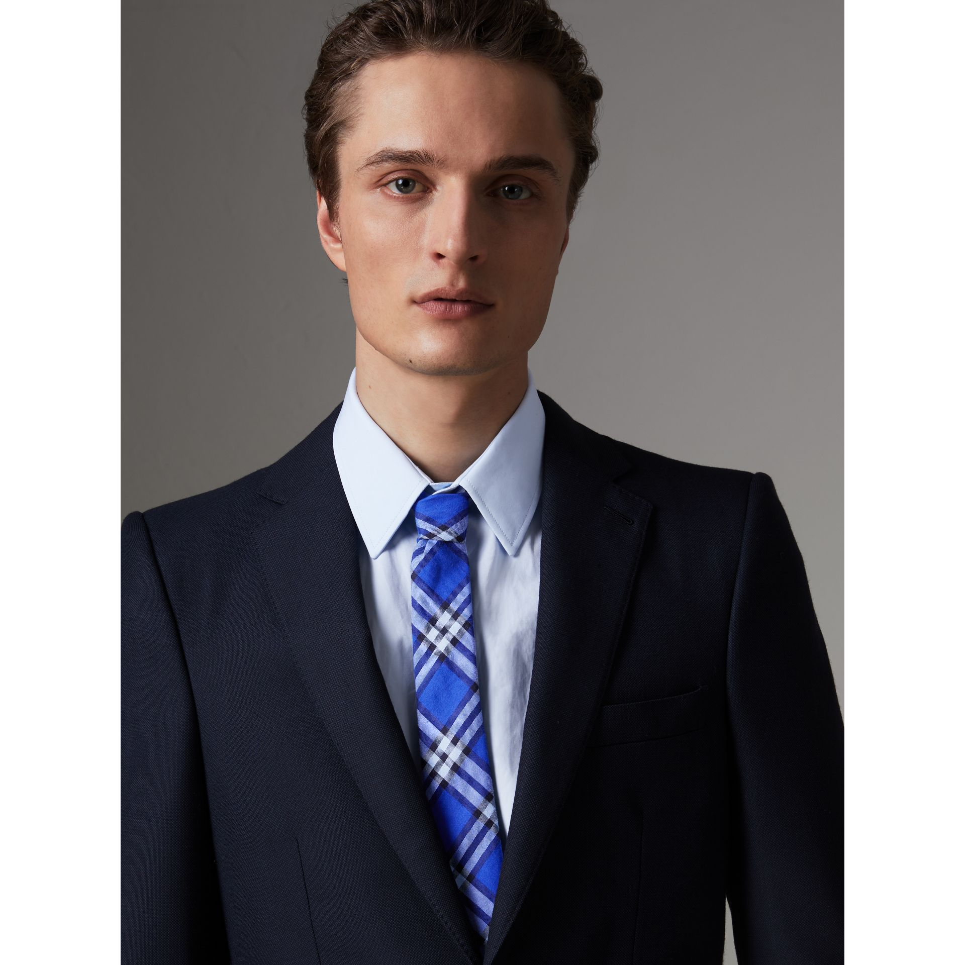 Slim Cut Check Cotton Tie in Light Blue - Men | Burberry United Kingdom - gallery image 2