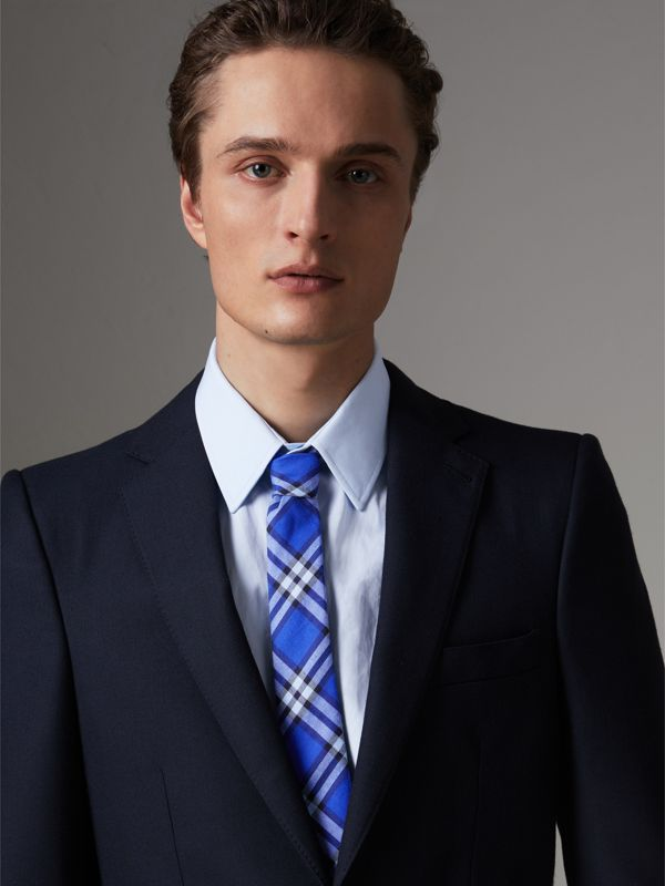 Slim Cut Check Cotton Tie in Light Blue - Men | Burberry Australia - cell image 2