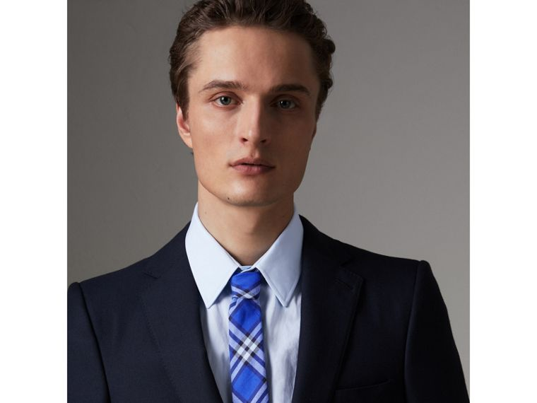 Slim Cut Check Cotton Tie in Light Blue - Men | Burberry United Kingdom - cell image 2