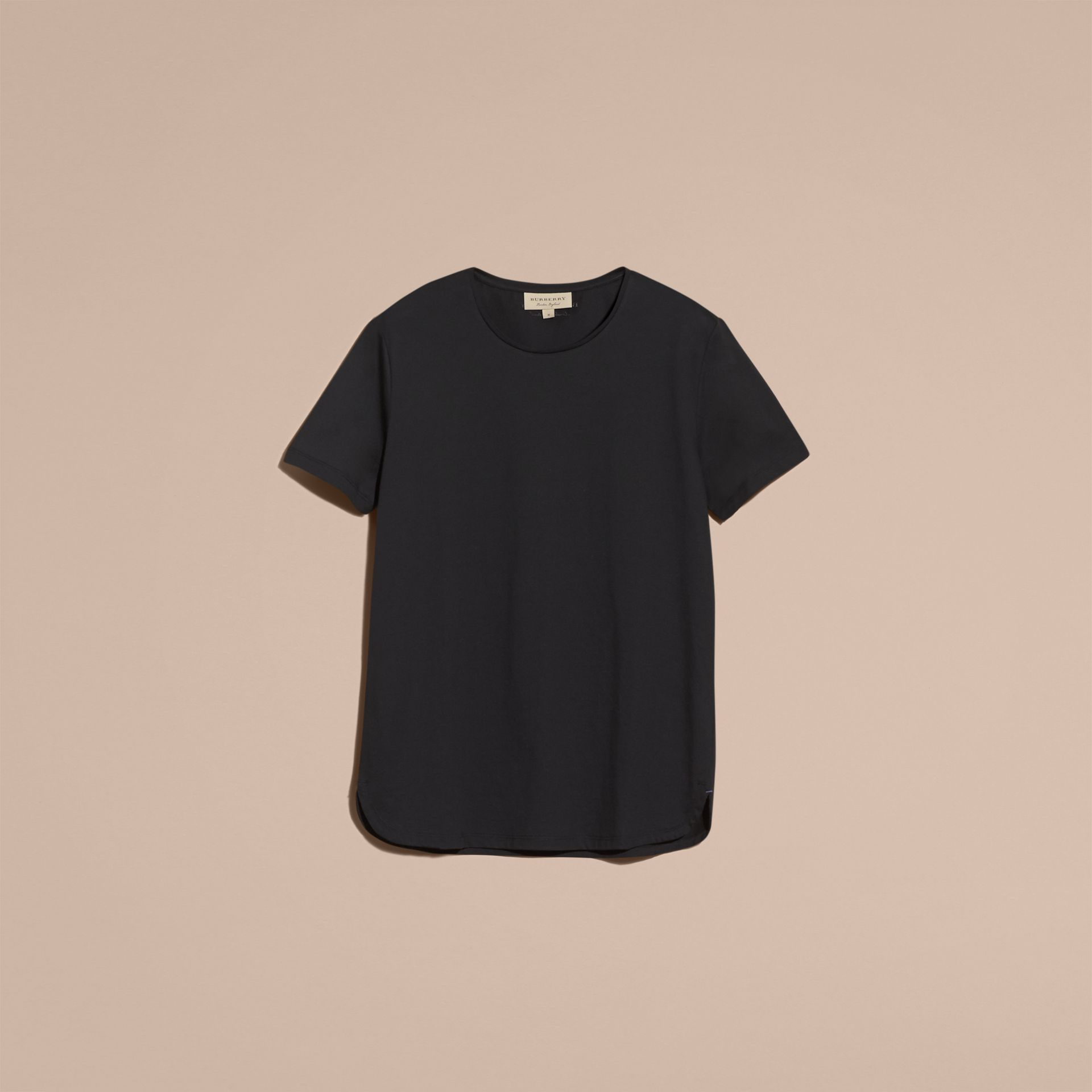 Crew Neck Cotton T-shirt in Black - Men | Burberry - gallery image 4