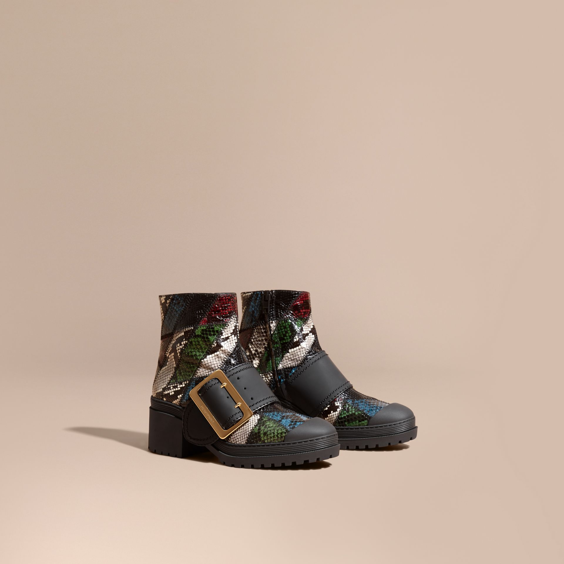 Mineral blue/black The Buckle Boot in Snakeskin and Rubberised Leather - gallery image 1