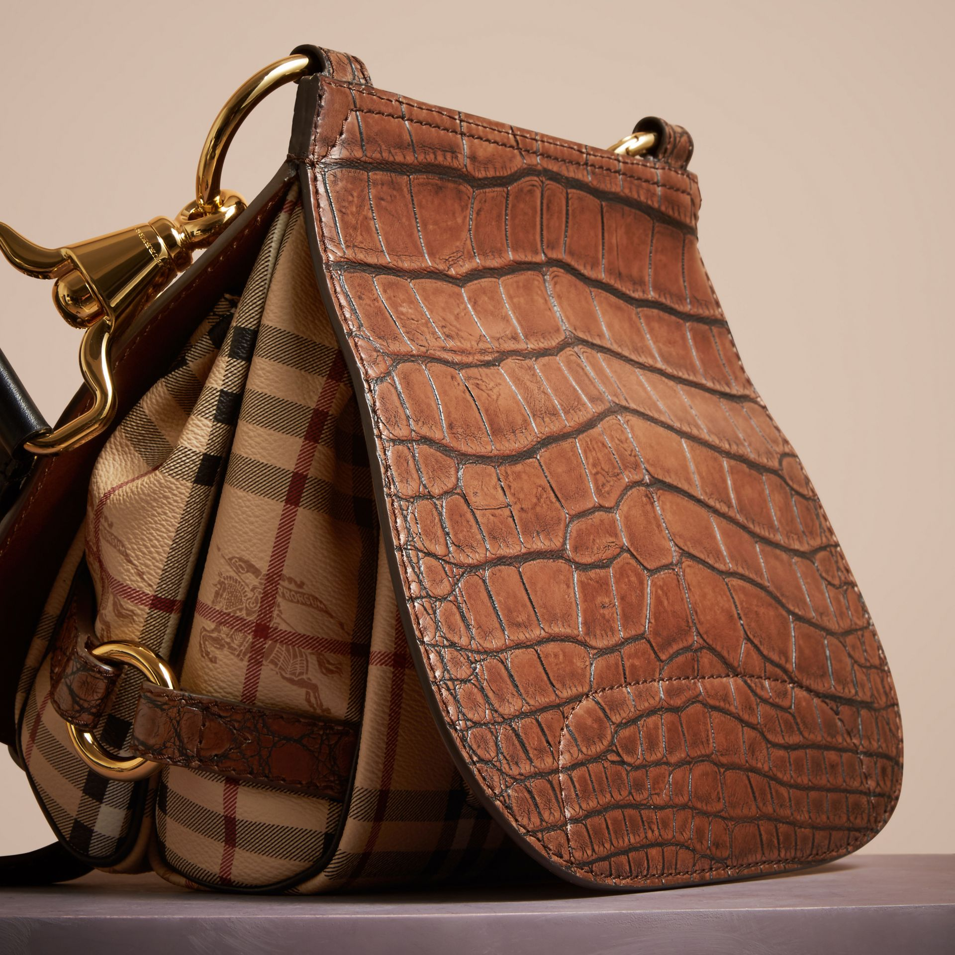 Russet brown The Bridle Bag in Alligator and Haymarket Check - gallery image 4
