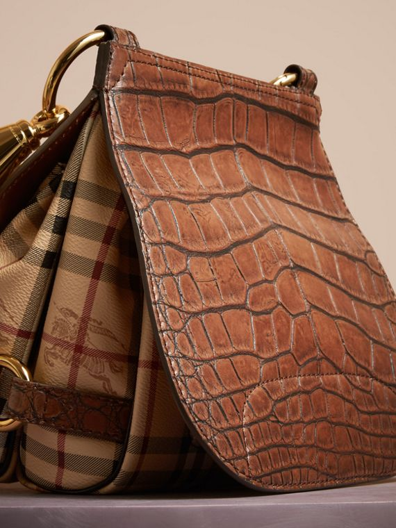 The Bridle Bag in Alligator and Haymarket Check in Russet Brown - Women | Burberry - cell image 3