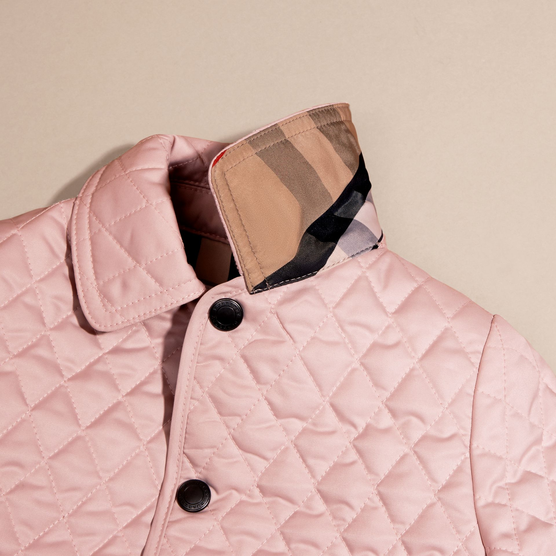 Check Detail Diamond Quilted Jacket in Powder Pink - gallery image 2