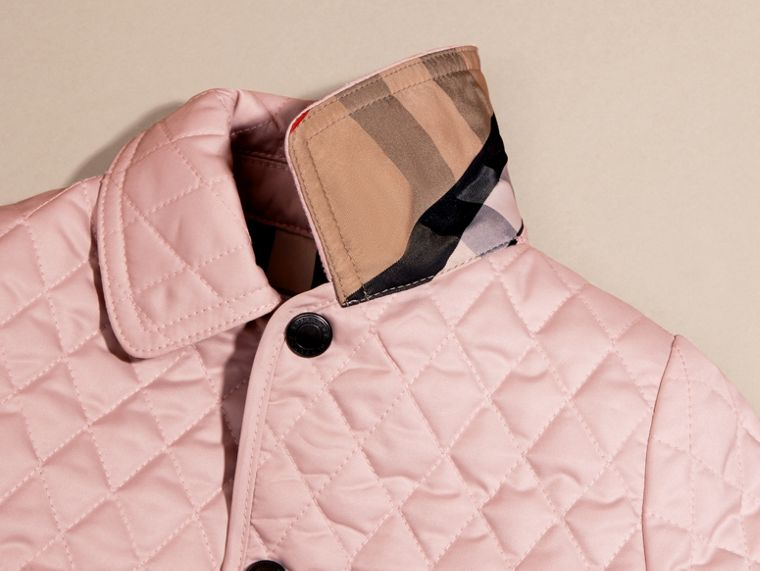 Check Detail Diamond Quilted Jacket in Powder Pink | Burberry - cell image 1