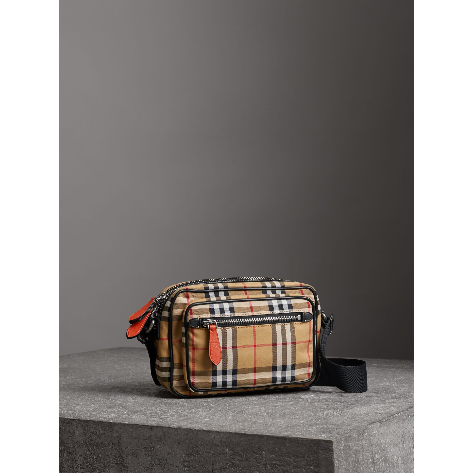 Vintage Check and Leather Crossbody Bag in Clementine - Men | Burberry - gallery image 6