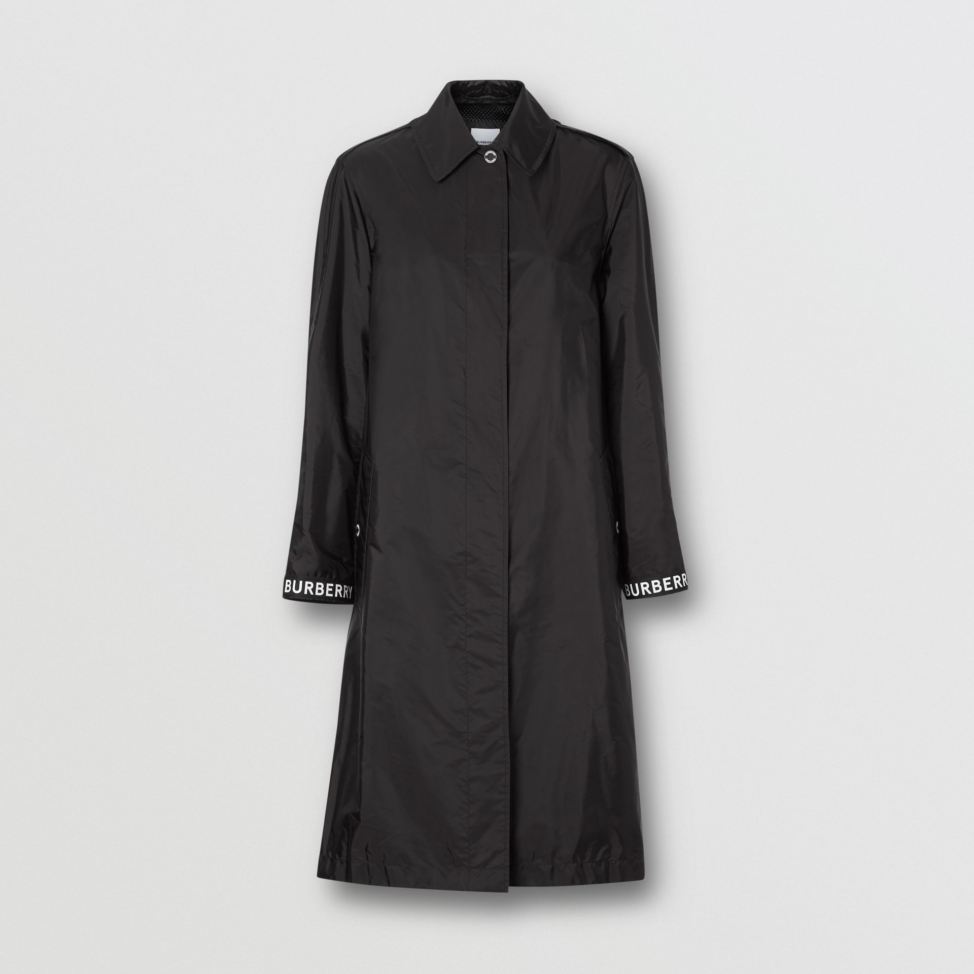 Logo Detail ECONYL® Car Coat in Black - Women | Burberry United Kingdom - gallery image 3