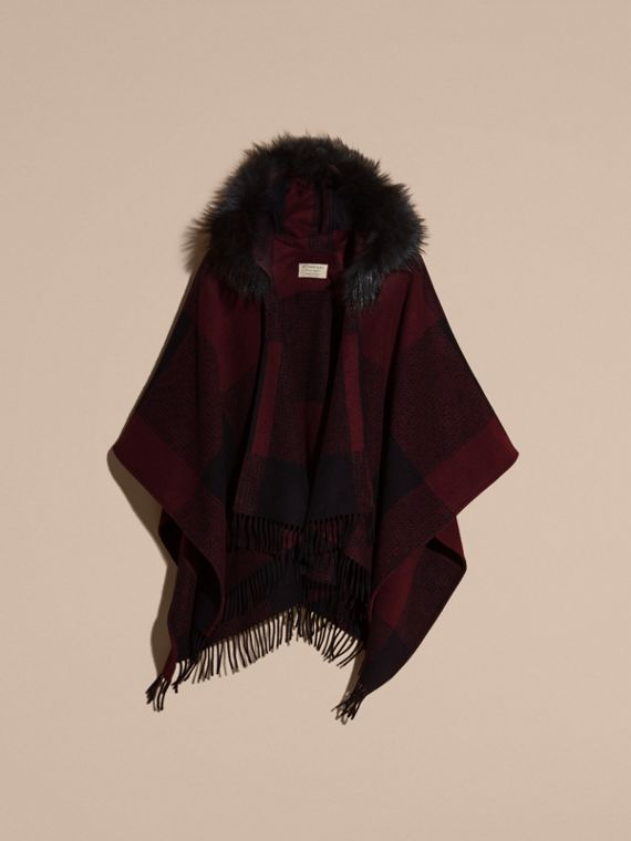 Claret Fur-trimmed Buffalo Check Wool Cashmere Poncho Claret - cell image 3
