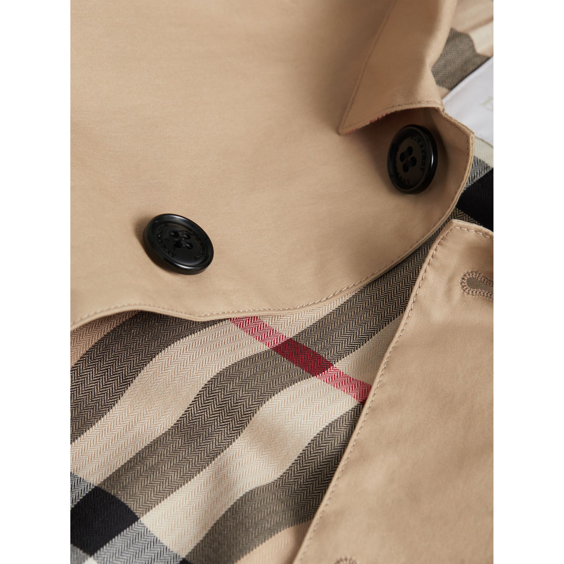 Mercerised Cotton Car Coat in Honey | Burberry - gallery image 1