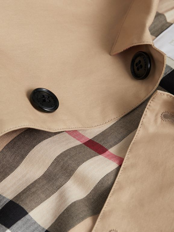 Mercerised Cotton Car Coat in Honey | Burberry - cell image 1