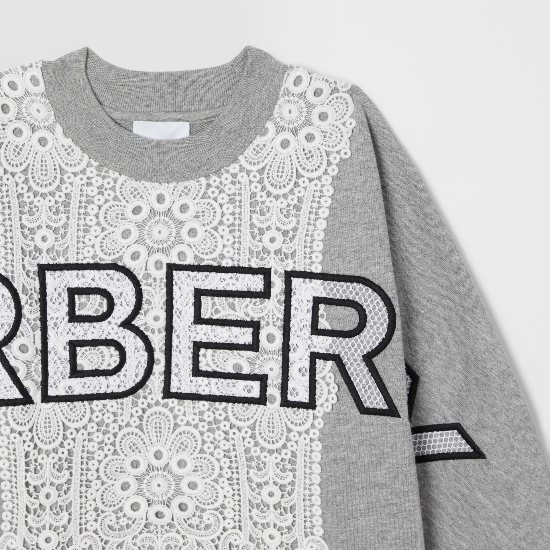 Logo Embroidered Lace Panel Cotton Sweatshirt in Grey Melange | Burberry - gallery image 4