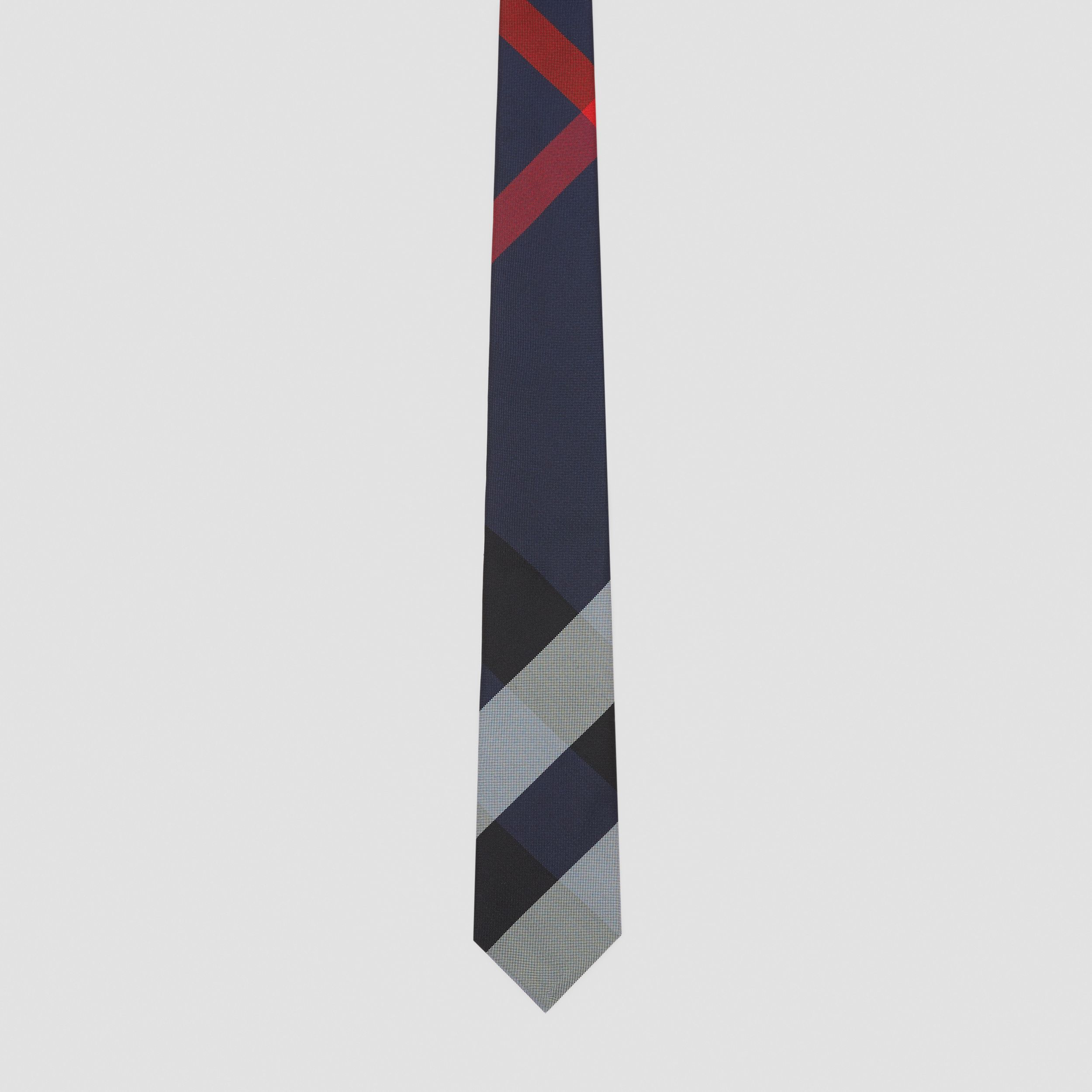 Modern Cut Oversized Check Silk Tie in Navy - Men | Burberry - 4