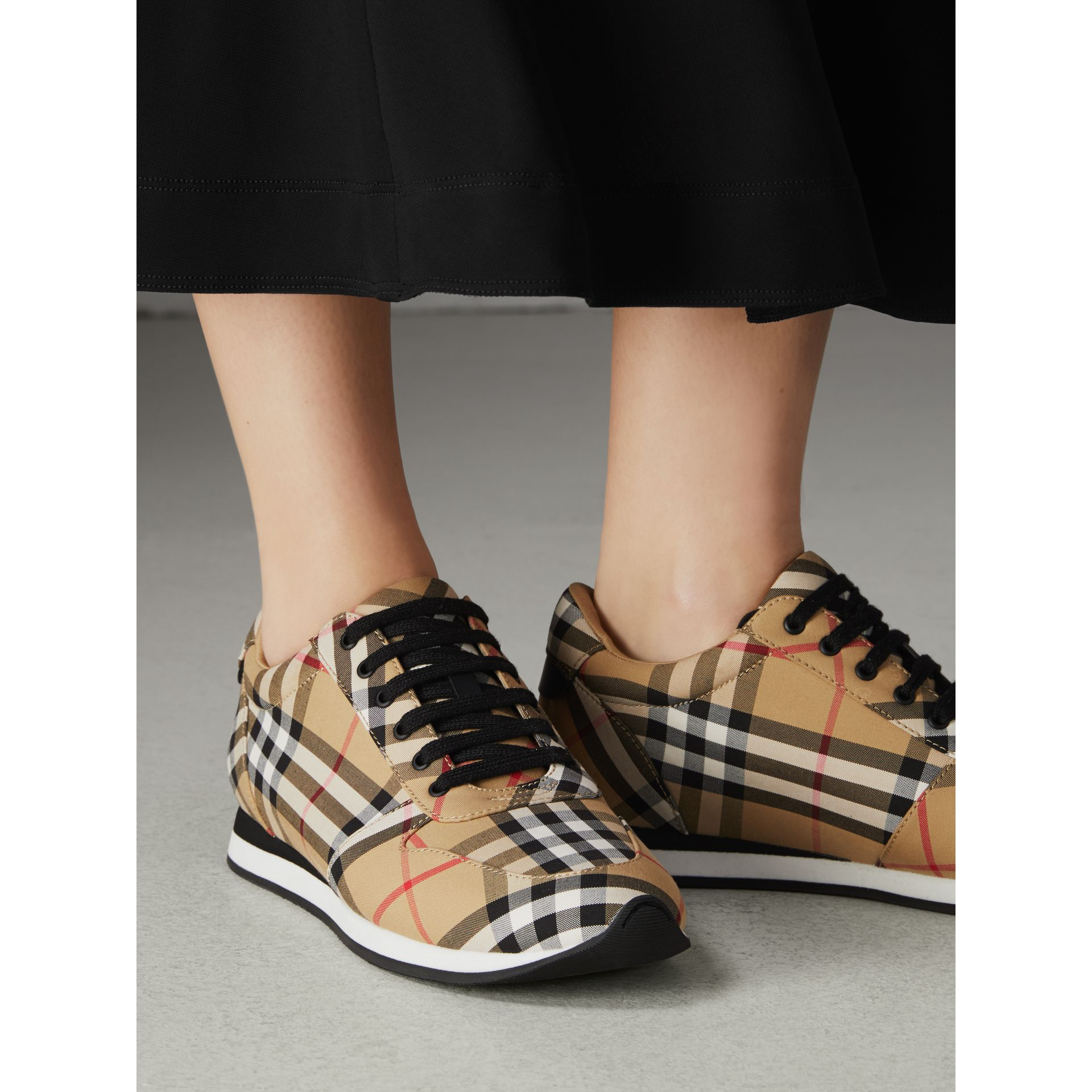 Vintage Check Cotton Sneakers in Antique Yellow - Women | Burberry - gallery image 2