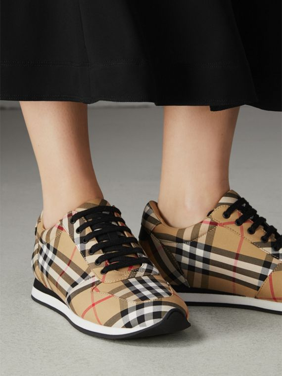 Vintage Check Cotton Sneakers in Antique Yellow - Women | Burberry Hong Kong - cell image 2