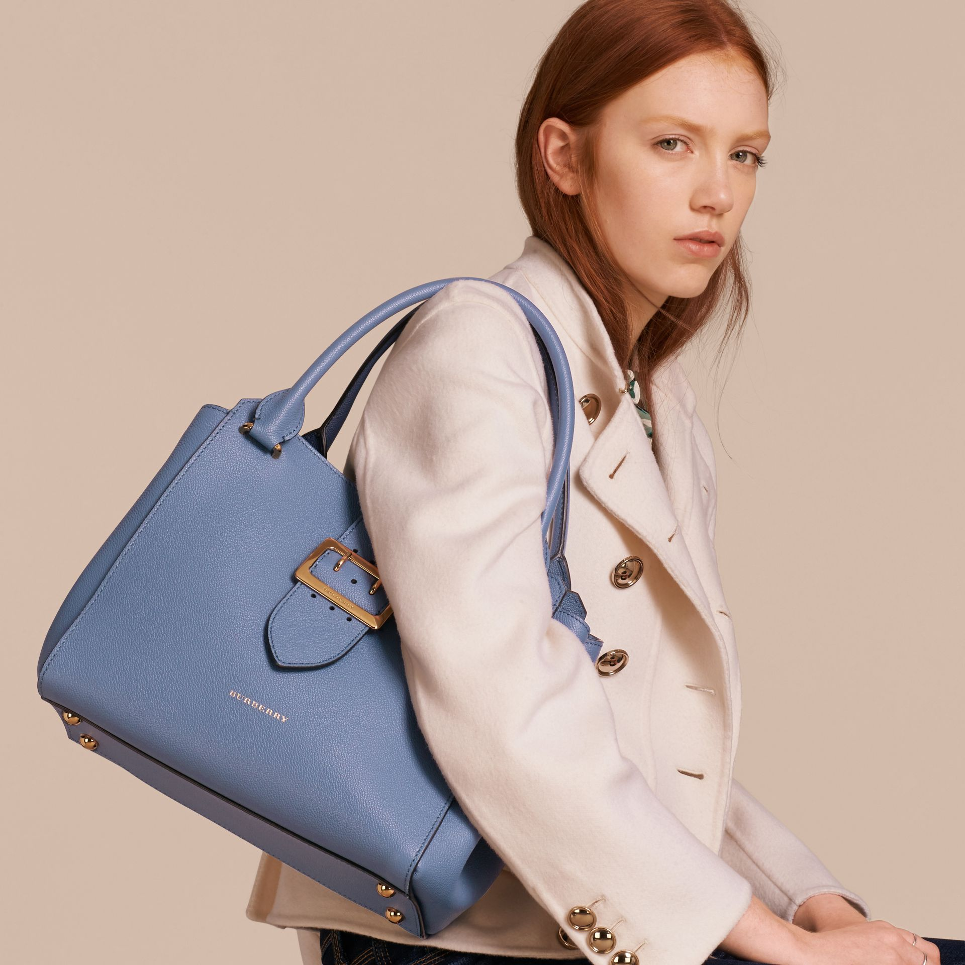 The Medium Buckle Tote in Grainy Leather in Steel Blue - gallery image 3