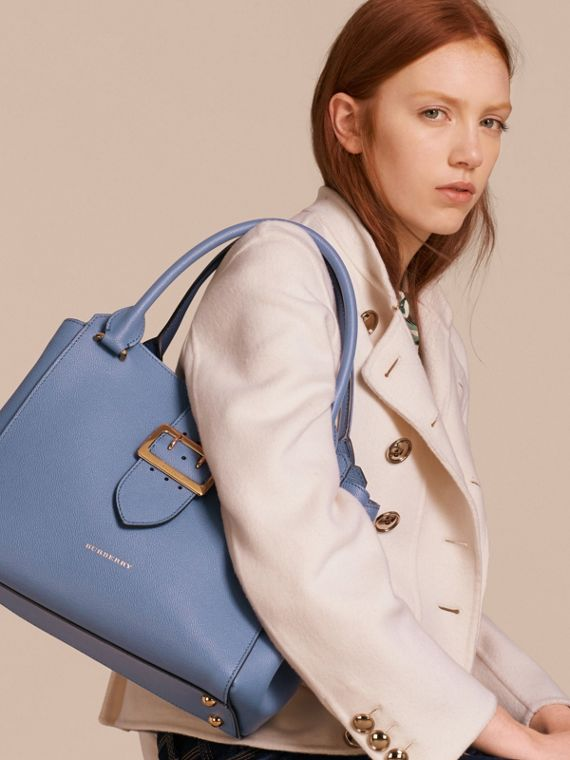 The Medium Buckle Tote in Grainy Leather in Steel Blue - cell image 2