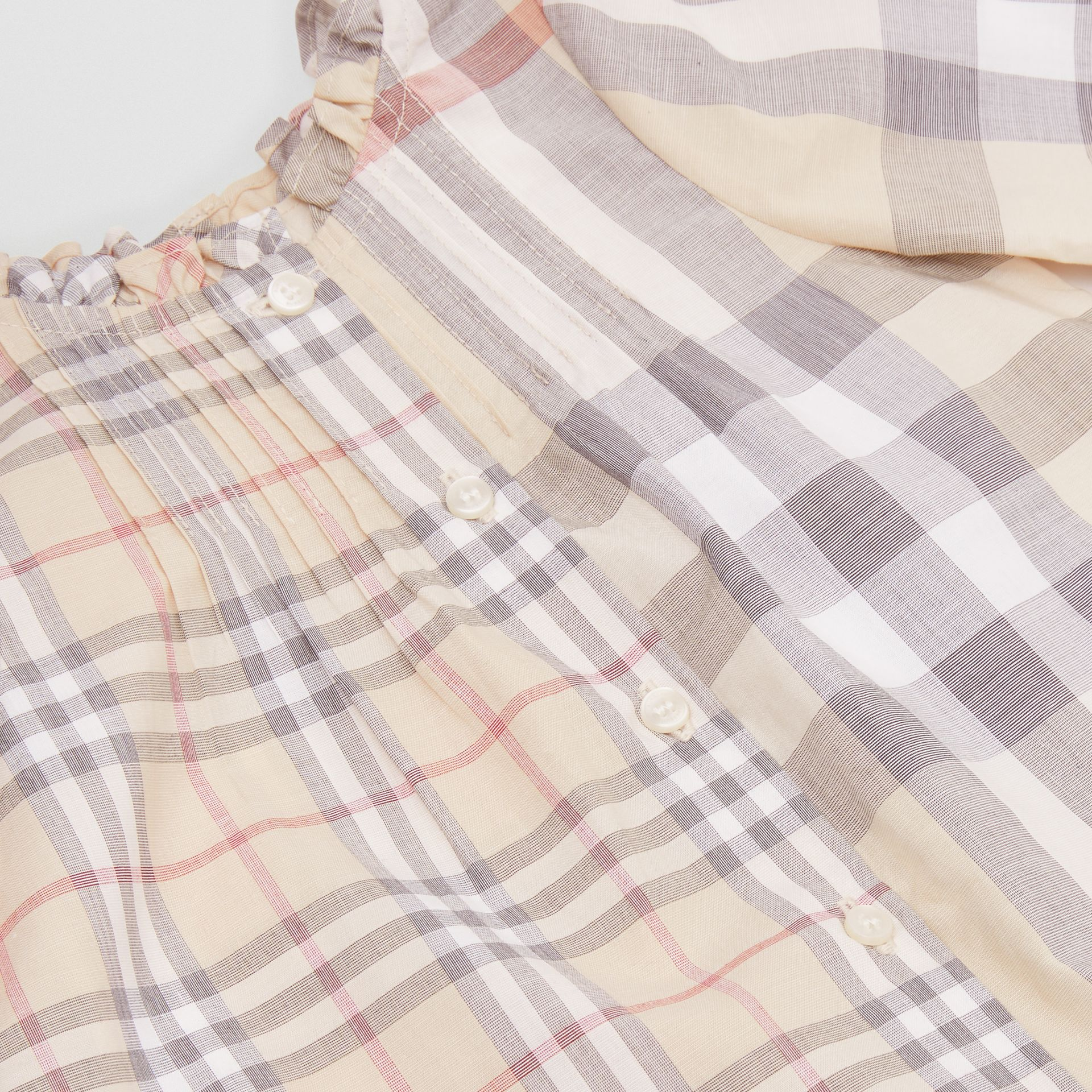 Contrast Check Cotton Dress with Bloomers in Pale Stone - Children | Burberry - gallery image 1