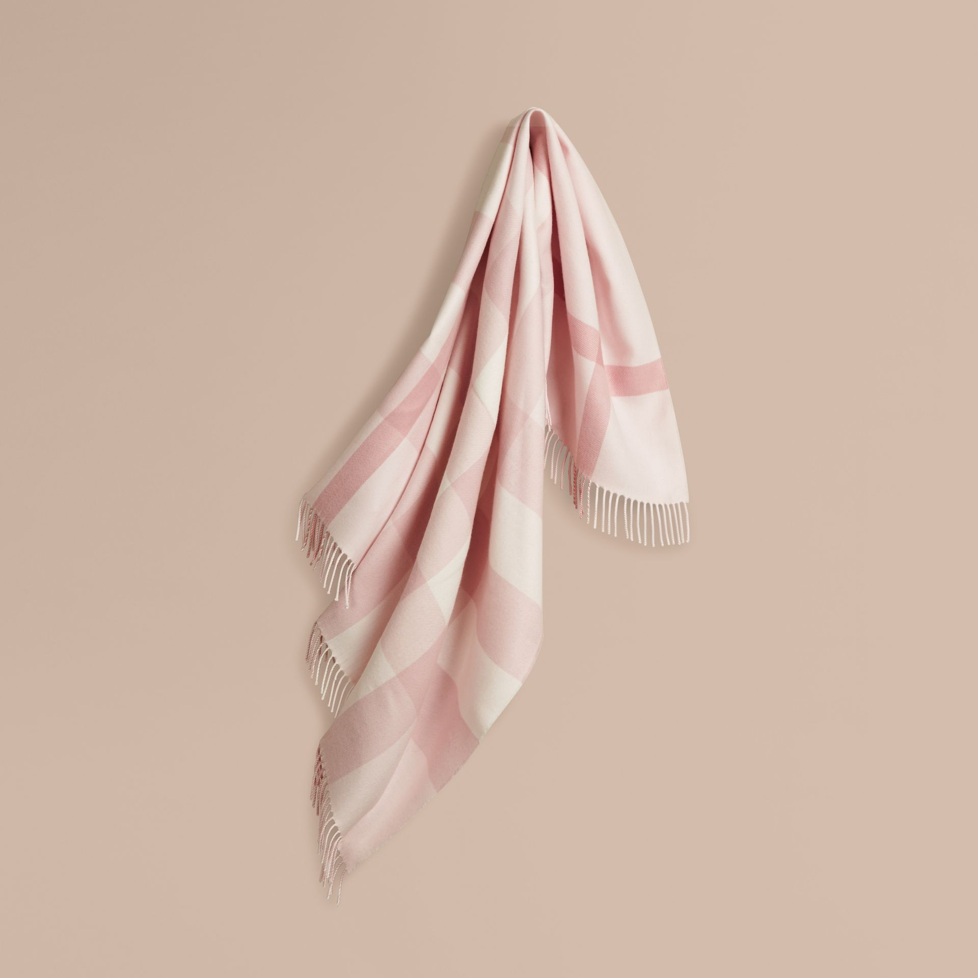 Powder pink Check Merino Wool Baby Blanket Powder Pink - gallery image 1