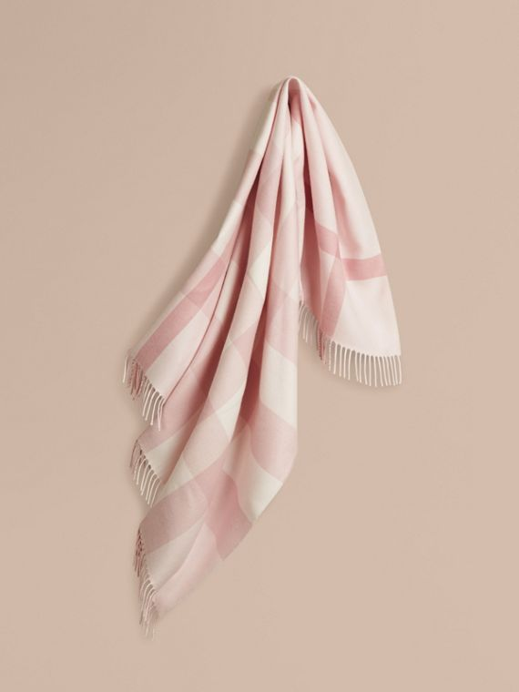 Check Merino Wool Baby Blanket Powder Pink