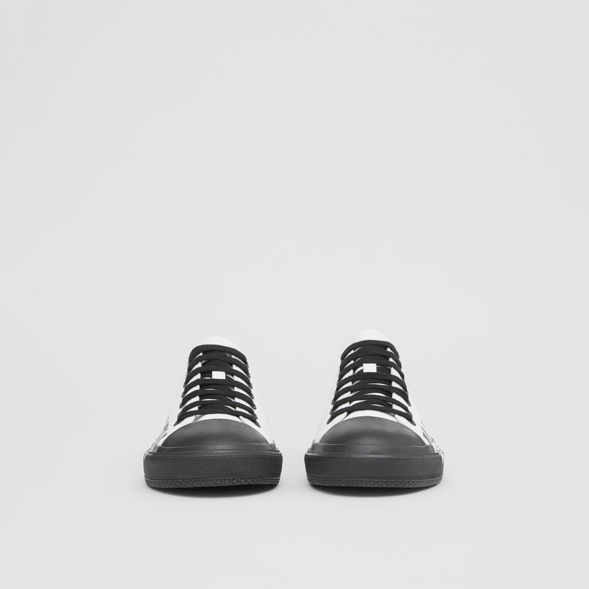 Logo Print Two-tone Cotton Gabardine Sneakers in Optic White/black - Men | Burberry Canada - gallery image 3