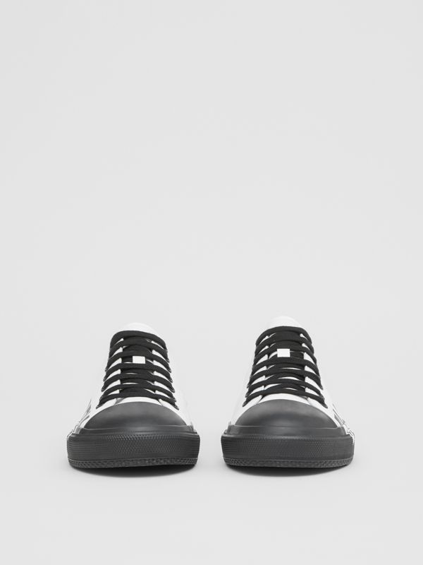 Logo Print Two-tone Cotton Gabardine Sneakers in Optic White/black - Men | Burberry Hong Kong S.A.R - cell image 3