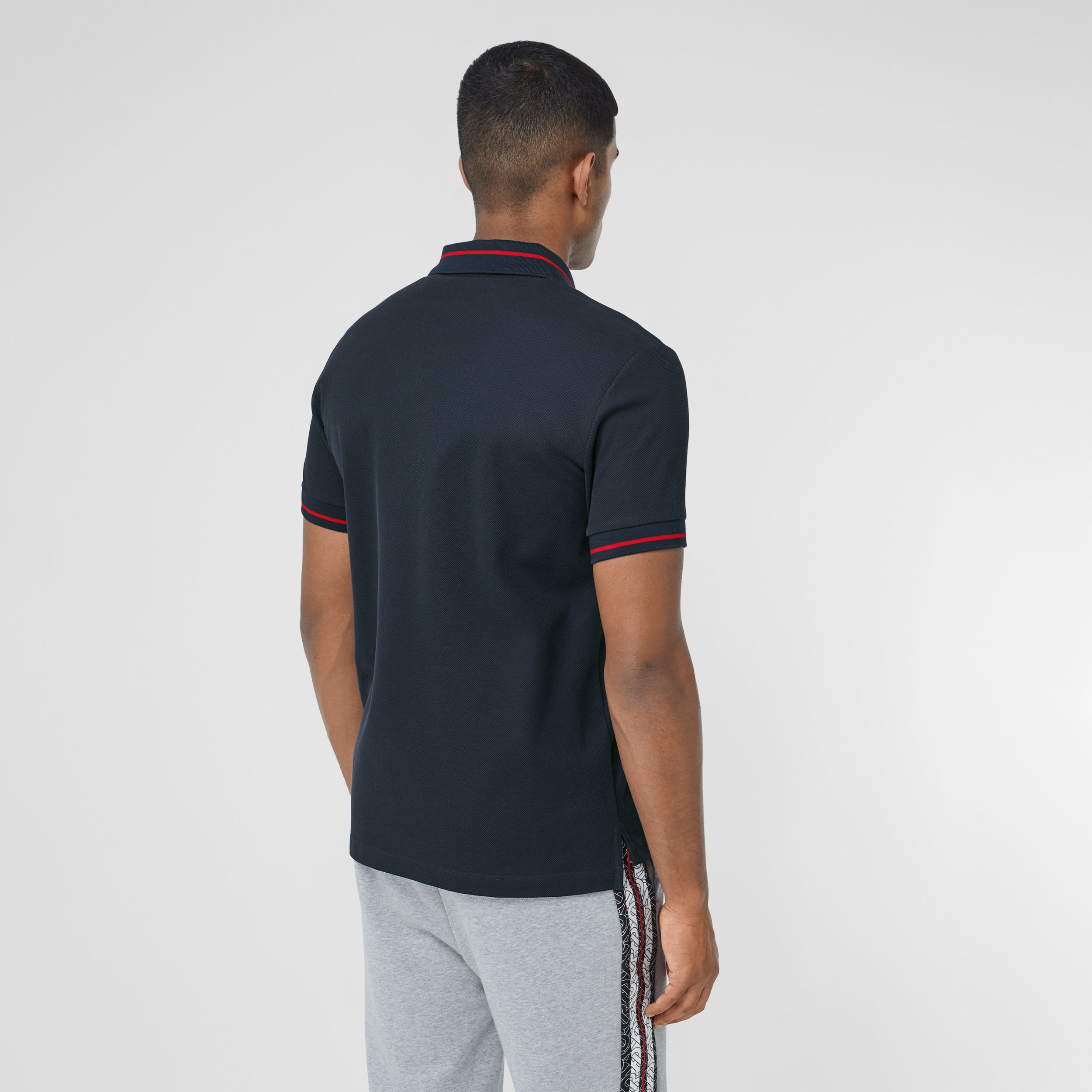 Logo Appliqué Cotton Piqué Polo Shirt in Navy - Men | Burberry - 3