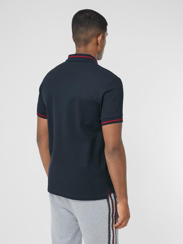 Logo Appliqué Cotton Piqué Polo Shirt in Navy - Men | Burberry Hong Kong S.A.R - cell image 2