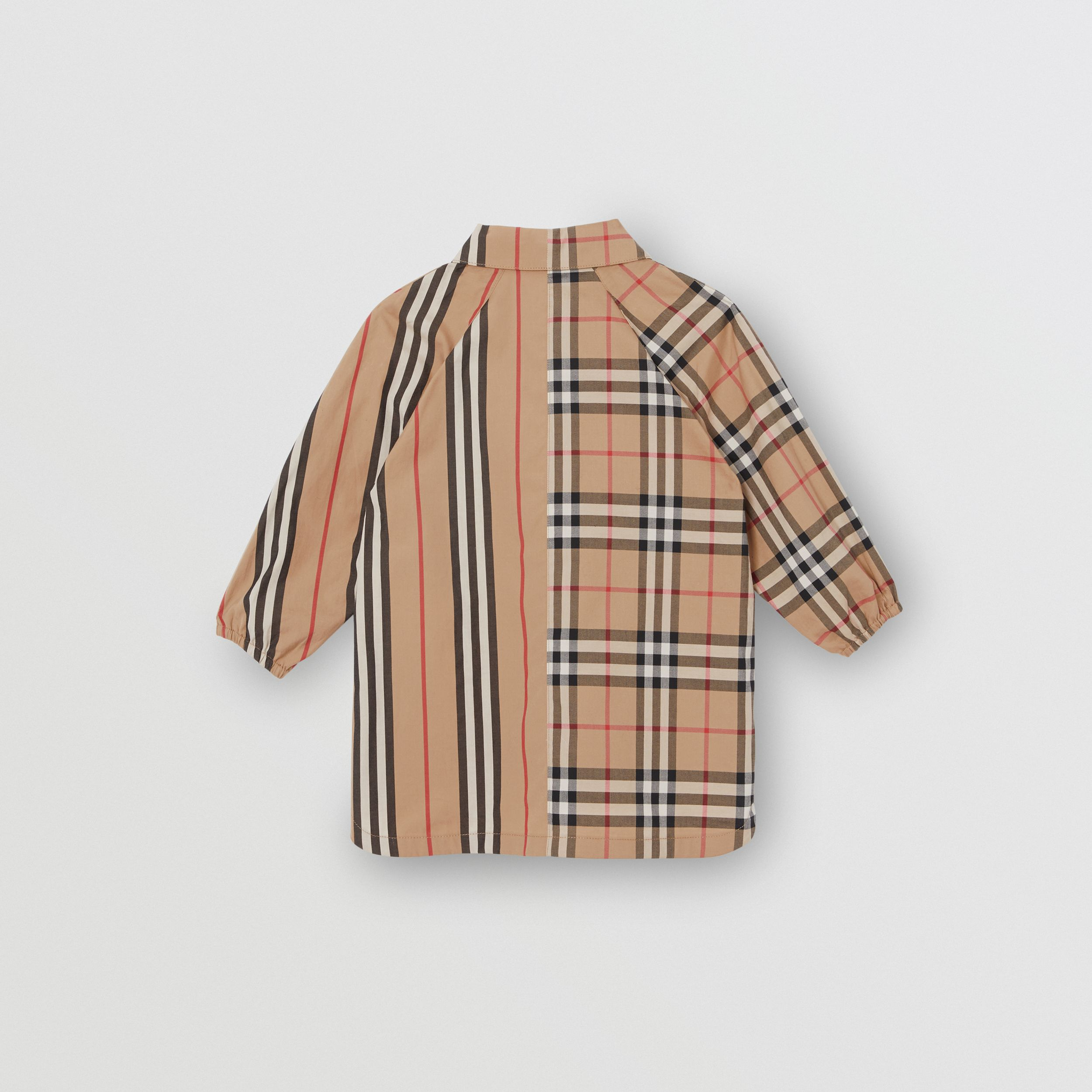 Vintage Check and Icon Stripe Cotton Shirt Dress in Archive Beige - Children | Burberry - 4