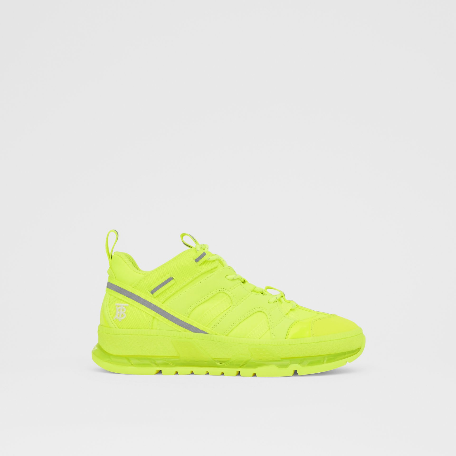 Nylon and Cotton Union Sneakers in Fluorescent Yellow - Women | Burberry United Kingdom - gallery image 5
