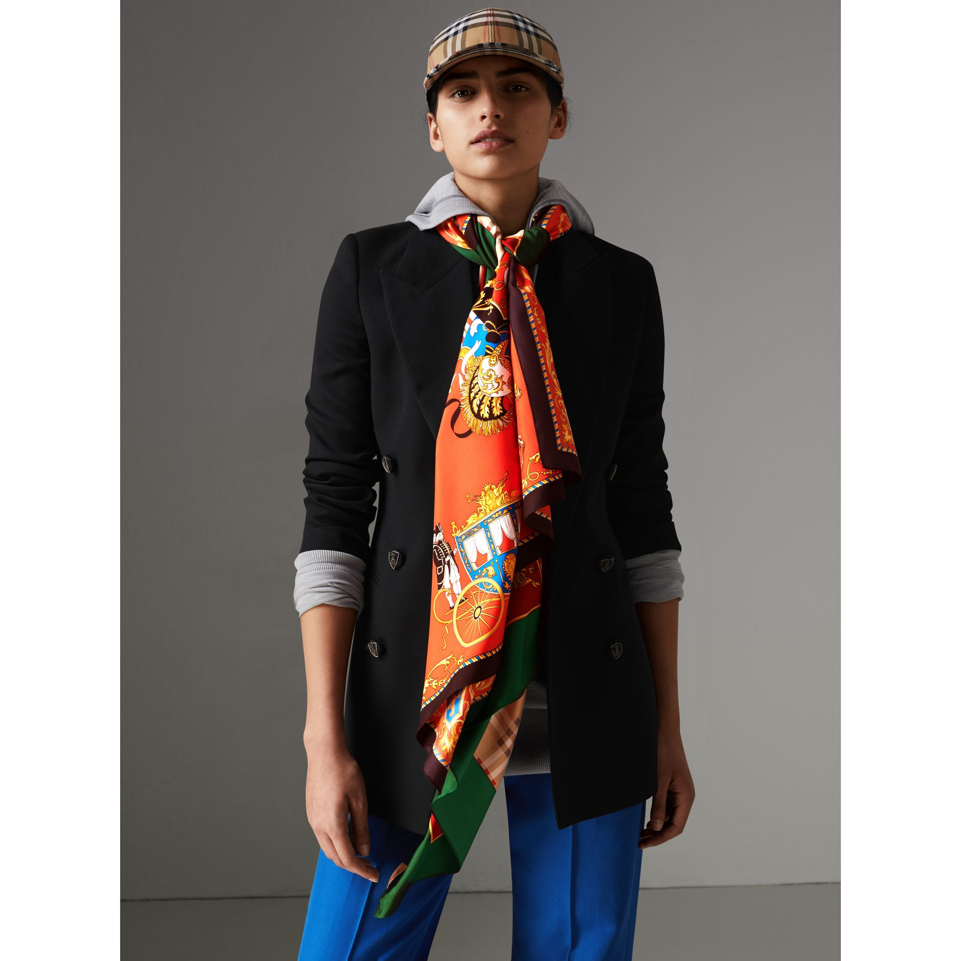 Archive Scarf Print Silk Oversized Scarf in Multicolour - Women | Burberry - gallery image 4