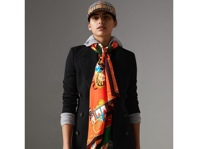 Archive Scarf Print Silk Scarf in Multicolour - Women | Burberry United Kingdom - cell image 4