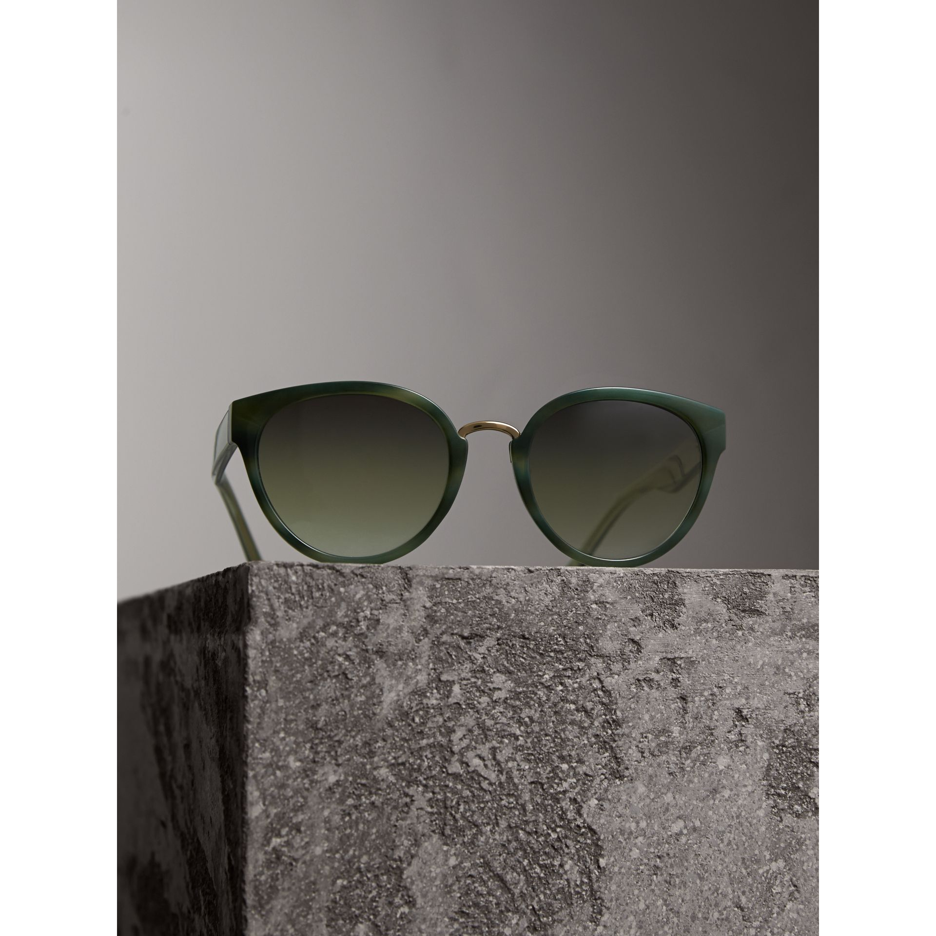 Check Detail Cat-eye Frame Sunglasses in Dark Olive - Women | Burberry Singapore - gallery image 3