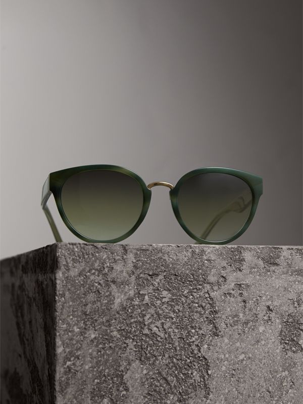 Check Detail Cat-eye Frame Sunglasses in Dark Olive - Women | Burberry United Kingdom - cell image 2