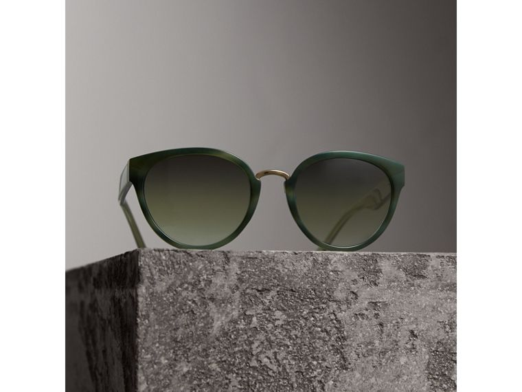 Check Detail Cat-eye Frame Sunglasses in Dark Olive - Women | Burberry - cell image 2